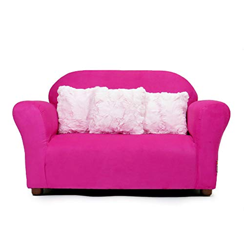 Keet Plush Childrens Sofa with Accent Pillows, Hot Pink