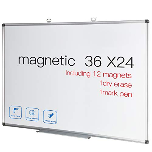 Magnetic Dry Erase Board 36x24 White Board Sliver Aluminium Frame Wall Mounted Teaching Boards for School Office and Home