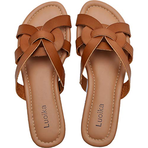 Luoika Women's Wide Width Slide Sandals - Slip On Flat Open Toe Casual Summer Shoes.(190101,Brown,6)