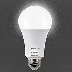 Motion Sensor Light Bulb JackonLux Motion Activated Light Bulb 8W 800LM Auto On/Off Security Light Bulbs for Front Door Porch Garage Hallway Stairs E26