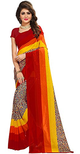 Kalaa Varsha Women's Faux Georgette Saree Free Size Red