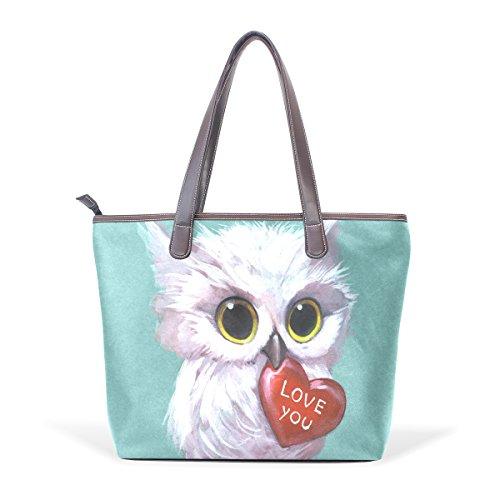COOSUN 3D búho sosteniendo un corazón de grandes bolsas de PU mango de cuero Bolsa de hombro bolsa de asas L (33x45x13) cm Multicolor # 001
