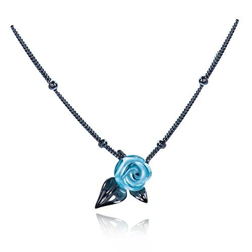 Blue Rose Ring Black Thorns Flower Ring Sterling Silver