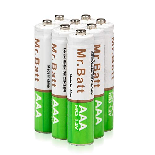 Mr.Batt NiMH Rechargeable AAA Batteries Pre-Charged, 700mAh (8 Pack)