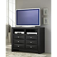 Roundhill Furniture Blemerey Fully Assembled TV Chest, Black Wood Finish