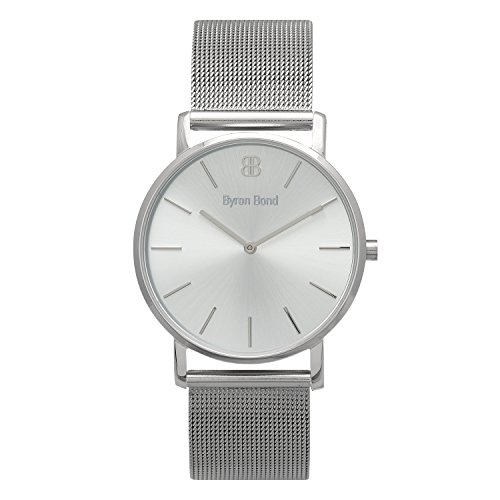 38mm Ultra Thin Slim Case Minimalist Fashion Watch for Men & Women by Byron Bond (Marylebone - Silver Case with Silver Dial and Silver Mesh Strap)