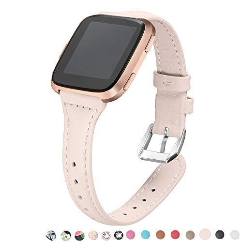 Leather Polished Frame - bayite Bands Compatible with Fitbit Versa, Beige (5.3
