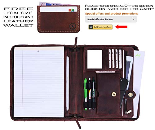 (Zippered Genuine Leather Business Portfolio | Easy to Carry Organizer with Writing Pad Holder, Business Card and Pen Slots. IPAD/Tablet Holder and Flip-Closure Phone Pocket (Brunette)