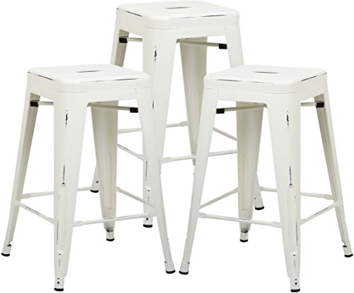 Poly and Bark Trattoria 24'' Counter Height Stool in Distressed White (Set of 3) by Poly and Bark