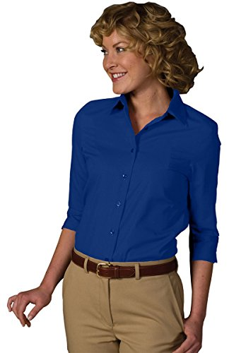 (Edwards Garment Women's Soft Collar 3/4 Sleeve Poplin Shirt, Royal, XXX-Large)
