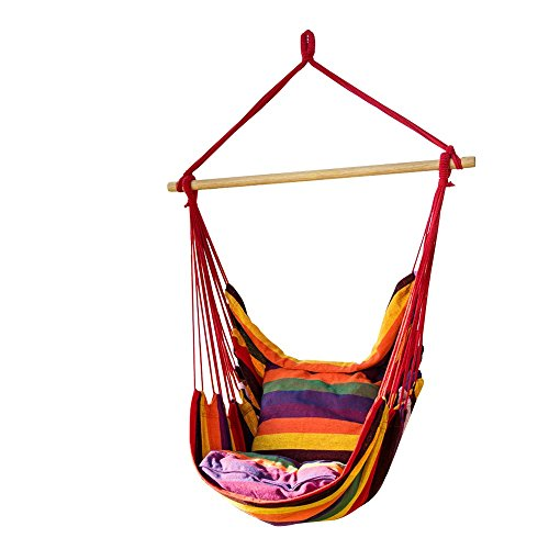 CCTRO Hanging Rope Hammock Chair Swing Seat, Large Brazilian Hammock Net Chair Porch Chair for Yard, Bedroom, Patio, Porch, Indoor, Outdoor - 2 Seat Cushions Included (Chairs For Porch)