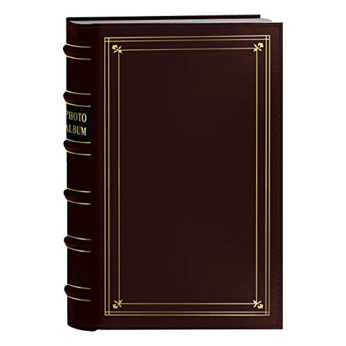 Pioneer Photo 204-Pocket Ring Bound Photo Album for 4 by 6-Inch Prints, Burgundy Bonded Leather with Gold Accents Cover ()
