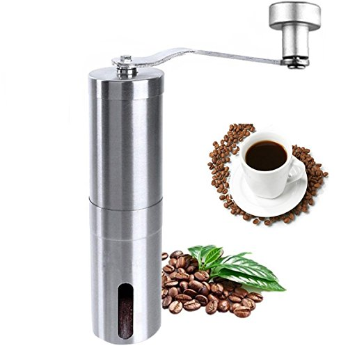 Manual Coffee Grinder, Stainless Steel Coffee Mill, Hand Burr Coffee Bean Grinder, Adjustable Grind Coarseness, Portable Ceramic Conical Burr Mill for Precision Brewing With Spoon and Cleaning Brush by Niceshop
