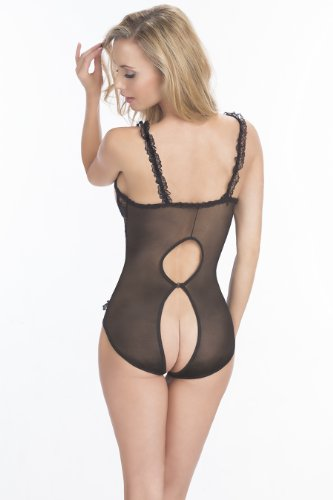 O Sexy Lingerie Women's Open Cup Crotchless Teddy