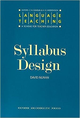 Syllabus Design D. NUNAN Livres
