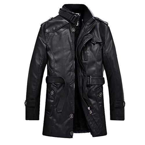 Nero Slim Trench Giacca xs In Stile Robo Pelle l Uomo Con Biker Attillata 6 Cappotto Da Basic 4 Cintura Fit Nera 4q8wx1Rg