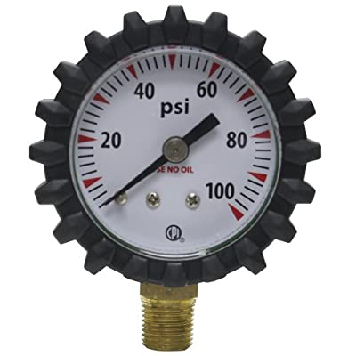 Uniweld G49D 1-1/2-Inch 100 PSI Oxygen Replacement Delivery Gauge with Protective Rubber Gauge Boots