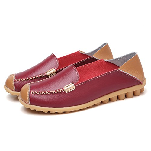 Womens Moccasins Loafers Casual Red NineCiFun Flat On Slip Leather Wine Soft 8pWdqOn6S