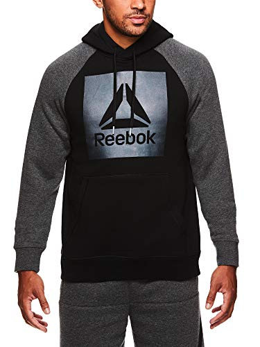 Reebok Men's Performance Pullover Hoodie - Graphic Hooded Activewear Sweatshirt - Black Hoodie, Large