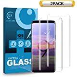 QIANXIANG Screen Protector,[2-Pack] [9H Hardness] [Anti-Fingerprint][No Bubbles] 3D Curved Tempered Glass Screen Protector Compatible with Samsung Galaxy S9 Plus