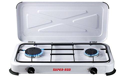 SUPER EGO SEH024800 Tragbarer Gaskocher, Weiß, 60x10x30 cm, 2 Herdplatten