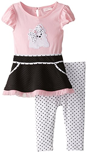 Girls Polka Poodle Dress Dot (Youngland Baby Girls' Poodle Applique Dress and Polka Dot Legging Set, Pink/Black/White, 18 Months)