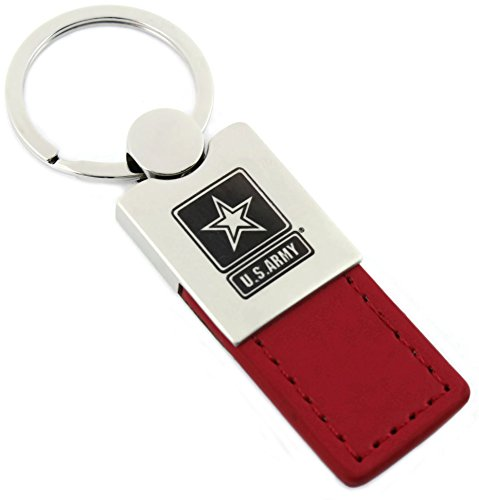 U. S. Army Red Leather Chrome Car Fob Key Chain - Key Fob Leather Army