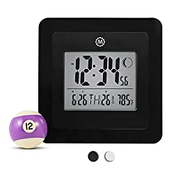 MARATHON CL030049BK Digital Wall Clock with Alarm, Temperature, Date & Moon Phase. Black - Batteries Included
