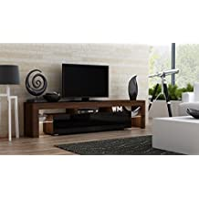 TV Stand MILANO 200 Walnut Line / Modern LED TV Cabinet / Living Room Furniture / Tv Cabinet fit for up to 90-inch TV screens / High Capacity Tv Console for Modern Living Room (Walnut & Black)