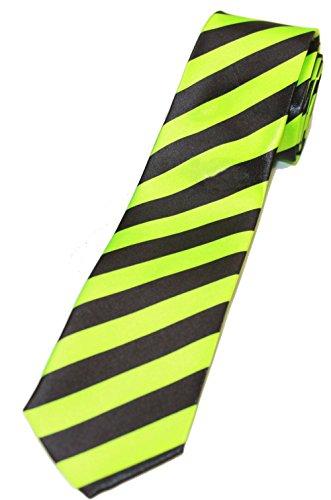 Trendy Skinny Tie - Diagonal Striped Green and Black
