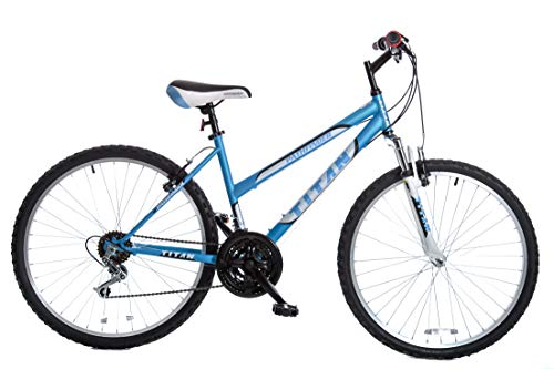 TITAN Pathfinder Women's Mountain Bicycle, 17-Inch Frame Height, 21-Speed, Front Suspension, Baby Blue (Mountain Bike Titan)