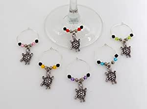 Turtle Wine Glass Charms - 6 Piece Cocktail Drink Charm Set in Black Velour Gift Pouch
