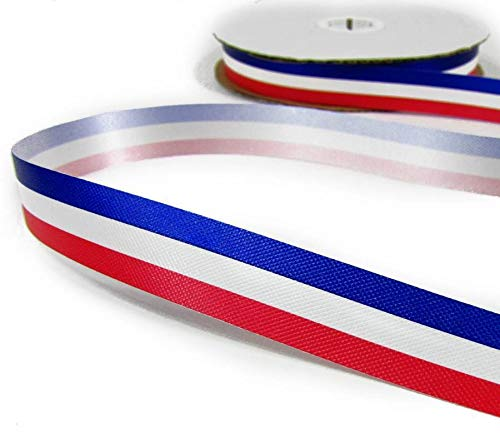 Ribbon Art Craft Decoration 10 Yards Patriotic Tricolor Red White Blue Stripe Acetate Ribbon 5/8