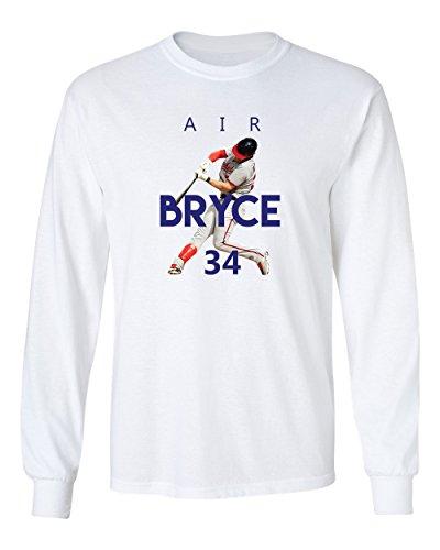 KINGS SPORTS Bryce Harper Washington AIR Men's Long Sleeve T Shirt (White,XL)