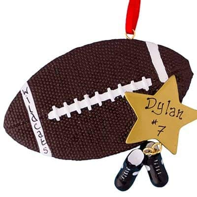 Football Star Personalized Ornament - (Unique Christmas Tree Ornament - Classic Decor for A Holiday Party - Custom Decorations for Family Kids Baby Military Sports Or -