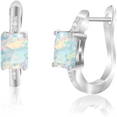 SPECIAL OFFER Cubic Zirconia Created Opal Leverback Earring