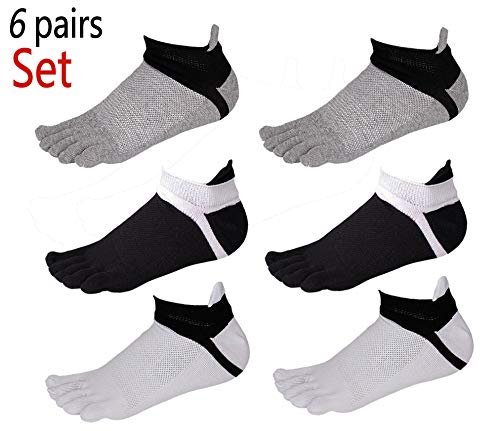 Men No Show Toe Socks Cotton Low Cut Athletic 5 Finger Mesh Wicking 6 Pack