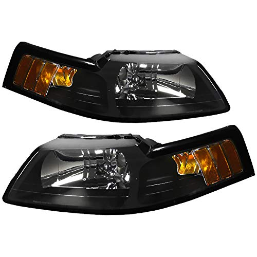 CARPARTSINNOVATE For Ford 99-04 Mustang Black Headlights Head Lights Amber Signal Lamps Left+Right