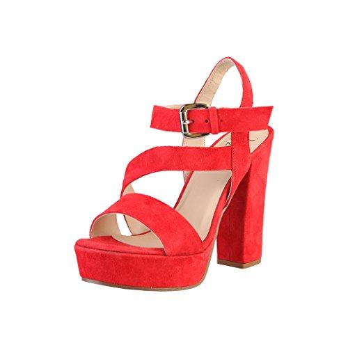 V 1969 LISON_LAMPONE Sandalias De Vestir Para Mujer Tacón: 12 cm, Plataforma 4 cm Rojo