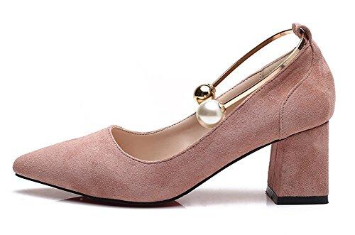 Knöchelring Aisun Zehen Damen Blockabsatz Elegant Perlen Pink Metallic Low Top Pumps Spitz tq8nrBdSt