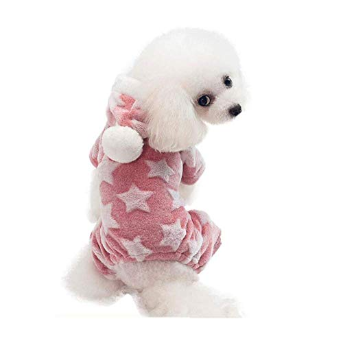 DBSCD Pet Dog Clothes, Cute Star Pattern Four-Leg Cotton Velvet Pajamas, Out of Dog Clothes, Home Warm Clothes, Suitable for Small and Medium Dogs,Pink,L