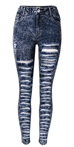 EMIN Damen Skinny Jeanshose Dennim mit hoher Taille Detail Bleistifthose Hüftehose Leggings Hose Blau mit löchern Loch Jeanshose