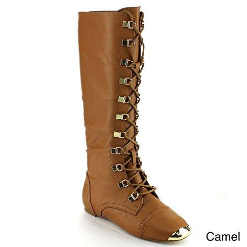 Bumper Vicky08 Dames Metallic Gouden Teen Vetersluiting Zijrits Knielaarzen Camel