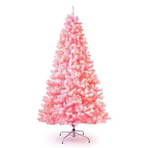 KING OF CHRISTMAS 7.5' Pink Flock Artificial Christmas Tree Pre-lit with 600 Warm White LED Lights (Tree Prelit Christmas Pink)