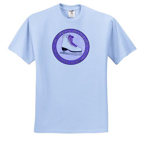 esigns Ice Skating - Figure Skating Girls Rule Purple Skate - T-Shirts - Adult Light-Blue-T-Shirt Medium (ts_77470_51) ()