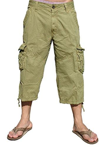 STONE TOUCH Mens Khaki Cargo Capri Shorts #A7CA Size (Mens Capri Pants)