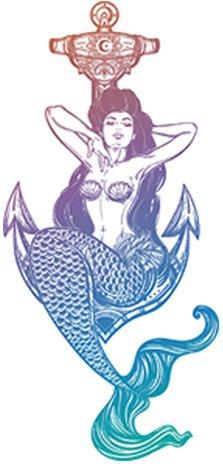 Sexy Vintage Pin Up Mermaid Cartoon - Pastel Ombre Vinyl Decal Sticker (4