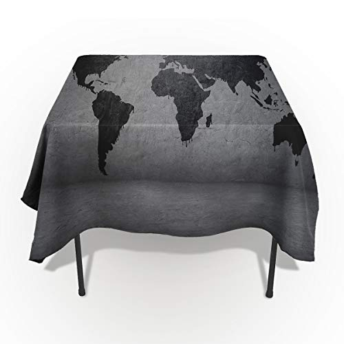 - Vintage Modern Tablecloths for Rectangle 60 x 84-inch Table Cover, Cotton Linen Fabric Table Cloth for Dining Room Kitchen, Grunge World Map Island Continents on The Globe Artful Design,