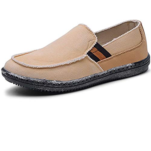 LANCROP Men's Slip On Shoes - Casual Lightweight Canvas Deck Boat Loafers Flat 8 M US Khaki (Shoes Canvas Casual Slip)