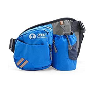 Multipurpose Waist Bag for Men and Women, Sports Travel Hip Bag with Water Bottle Holder and Cell Phone Pocket-Blue